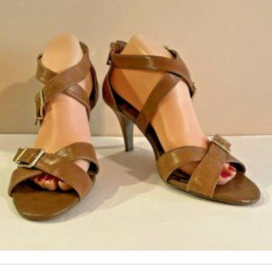 Brown Leather Cross Strap Kitten Heel Pumps Size 9